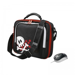 "SACOCHE & MINI SOURIS TRUST PIRATE 10"" ROUGE"